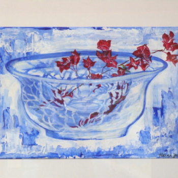 Bougainvilleas With Blue Glass Vessel