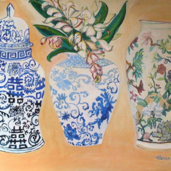 Ming Chinese Vases With Ginger Flowers