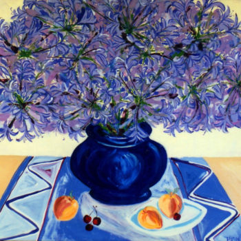 Agapanthus With Blue Porcelain Vase